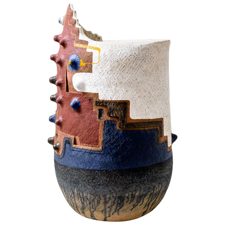 "Andile Dyalvane, ""Idladla (Grain Silo)"", Terracotta Clay Sculptural Seat For Sale"