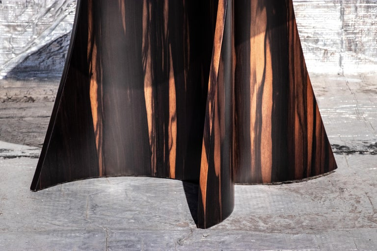 Andino Custom Bentwood Round Side Table in Macassar Ebony from Costantini For Sale 4