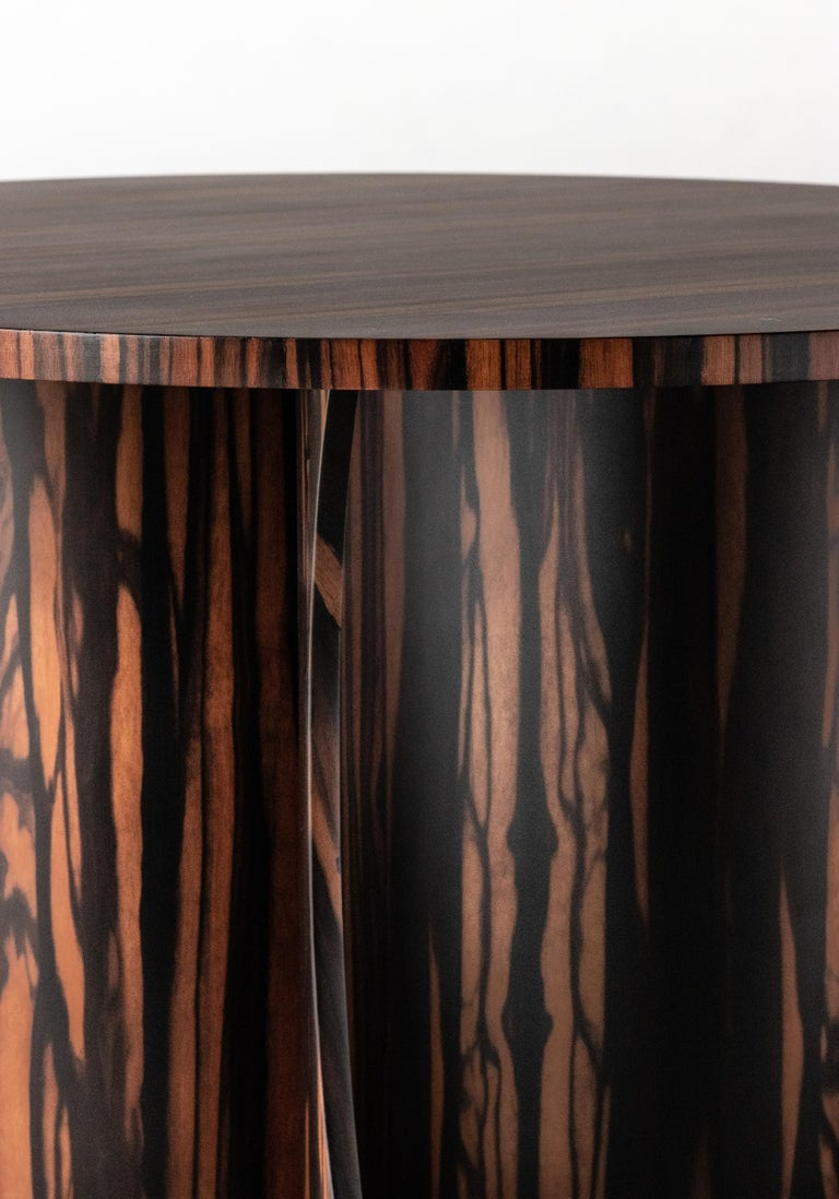 Andino Custom Bentwood Round Side Table in Macassar Ebony from Costantini For Sale 5