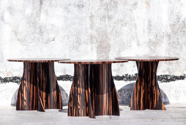 Andino Custom Bentwood Round Side Table in Macassar Ebony from Costantini For Sale 6
