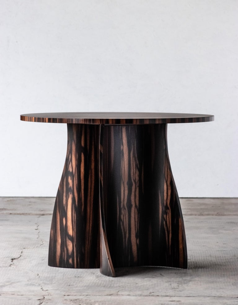 Argentine Andino Custom Bentwood Round Side Table in Macassar Ebony from Costantini For Sale