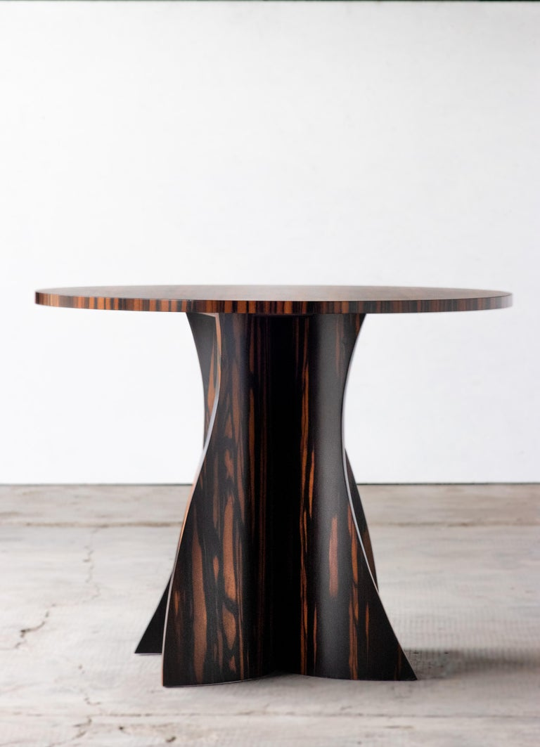 Andino Custom Bentwood Round Side Table in Macassar Ebony from Costantini In New Condition For Sale In New York, NY