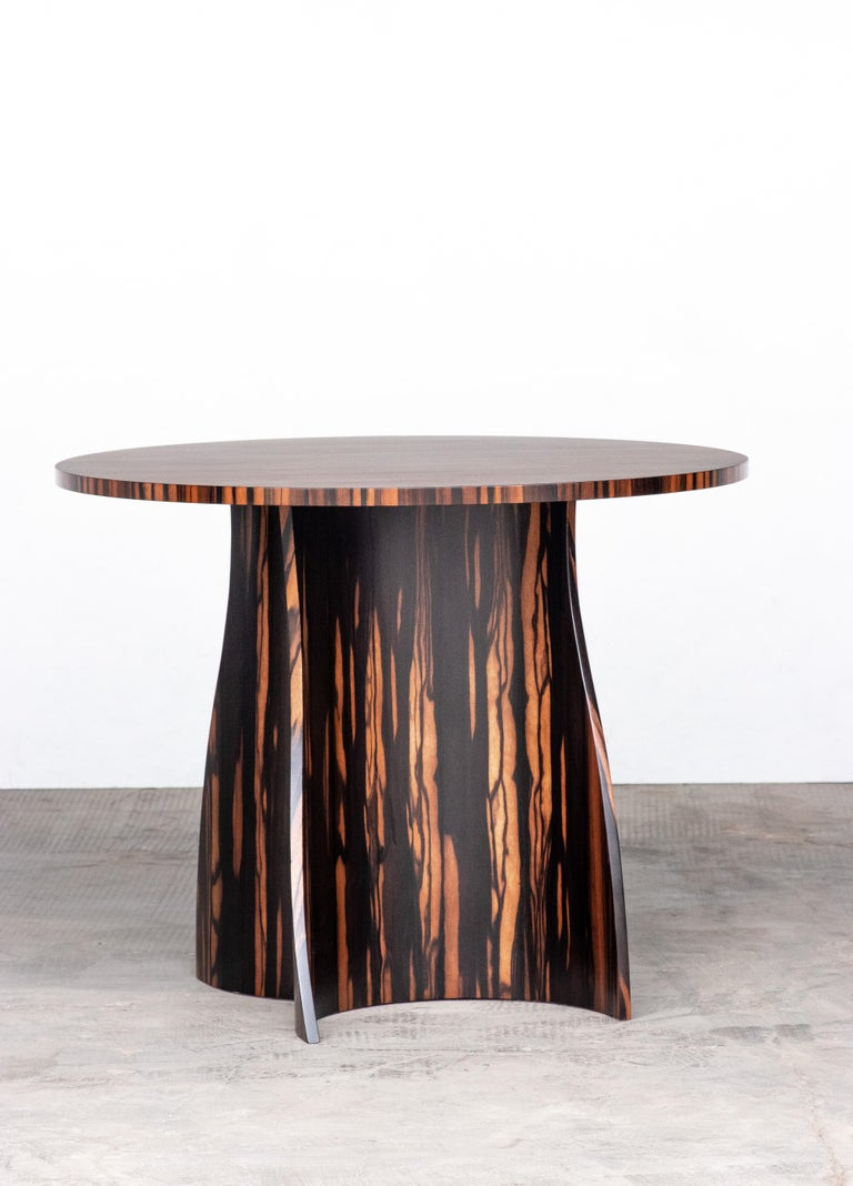Contemporary Andino Custom Bentwood Round Side Table in Macassar Ebony from Costantini For Sale