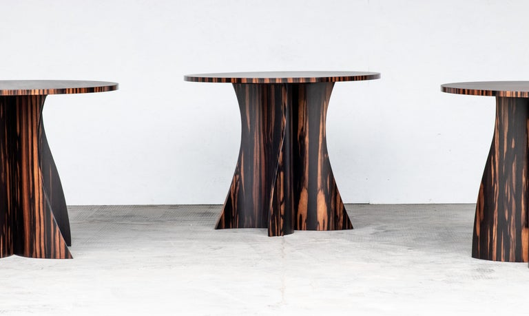 Andino Custom Bentwood Round Side Table in Macassar Ebony from Costantini For Sale 1