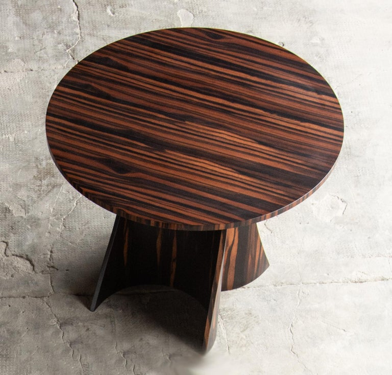 Andino Custom Bentwood Round Side Table in Macassar Ebony from Costantini For Sale 2