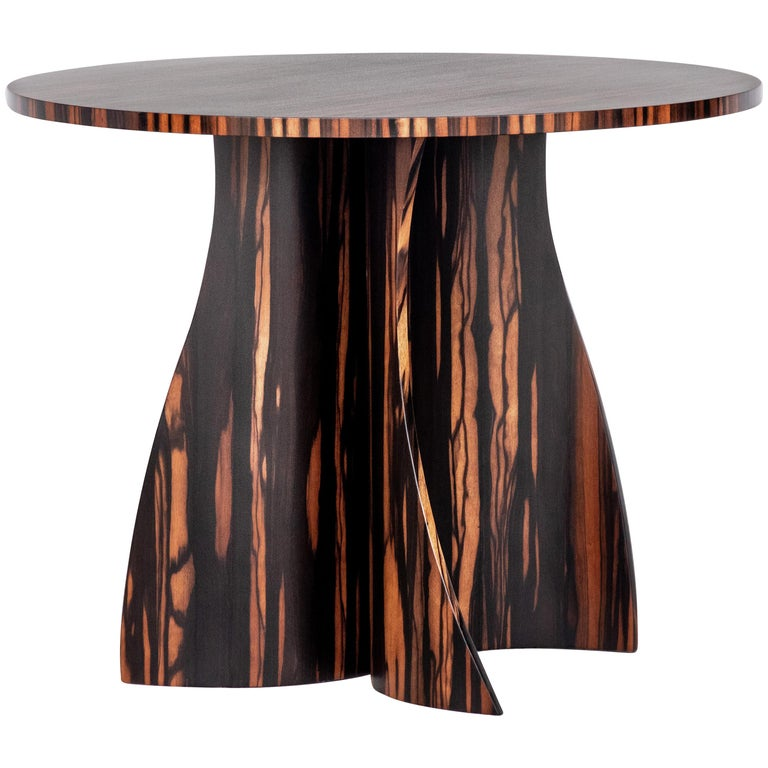 Andino Custom Bentwood Round Side Table in Macassar Ebony from Costantini For Sale