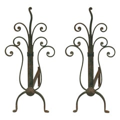 Andirons in Cast Iron, Art Deco, with Flower Decoration Pattern, France, 1940