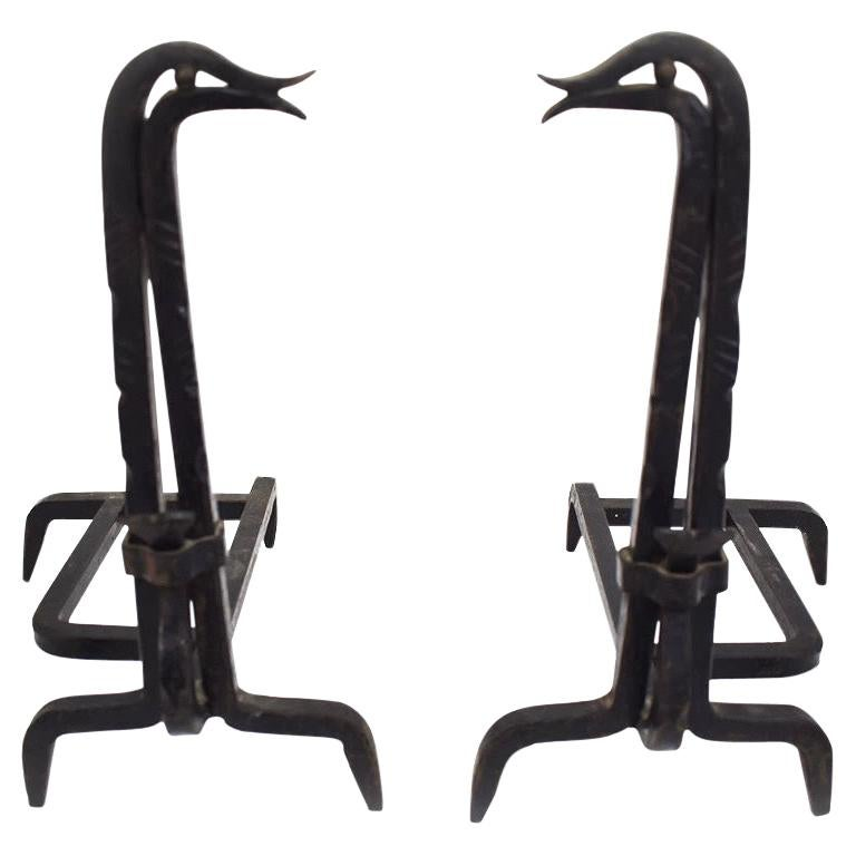 Andirons in Iron in the Style of Edouard Schenck, Duck-Shaped, France, a Pair For Sale