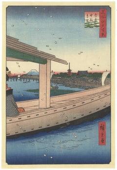 Ando Hiroshige, Edo, Ukiyo-e, Original Japanese Woodblock Print, Landscape, Boat