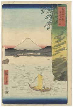 Ando Hiroshige I, Original Japanese Woodblock Print, Ukiyo-e, Mt. Fuji, Edo