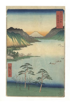 Ando Hiroshige, Lake Suwa, Mount Fuji, Landscape, Japanese Woodblock Print, Edo
