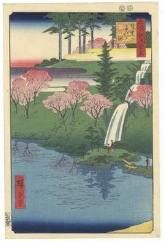 Ando Hiroshige, Original Japanese Woodblock Print, Landscape, Cherry Blossoms