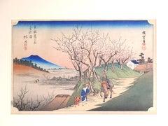 Blossoming Plum Trees at Sugita - Original Woodcut after Hiroshige Utagawa