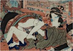 'Courtesan and Young Man at Fuchu' original erotic Shunga woodblock by Hiroshige