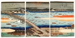 Evening Cool at Ryōgoku Bridge - by Hiroshige Utagawa - 1854