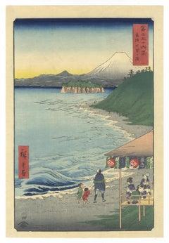 Hiroshige I, 36 Views of Fuji, Shichirigahama, Original Woodblock Print, Edo