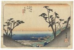Hiroshige I Ando, Shirasuka, Landscape, Original Japanese Woodblock Print, Edo