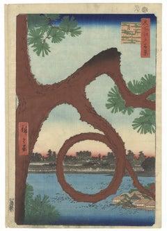 Hiroshige I, Moon Pine, Ueno, Landscape, Japanese Woodblock Print, Edo Period