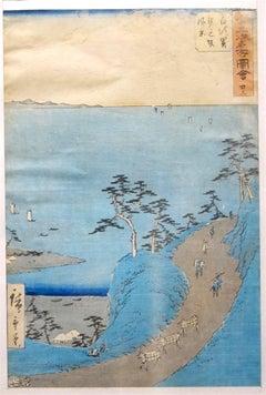 Japanese Landscape - Original Woodcut by Hiroshige Utagawa