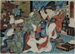 'Lovers of Okazaki' original erotic Shunga woodblock print by Utagawa Hiroshige