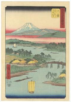 Original Japanese Woodblock Print, Hiroshige, Tokaido, Landscape, Fuji, River