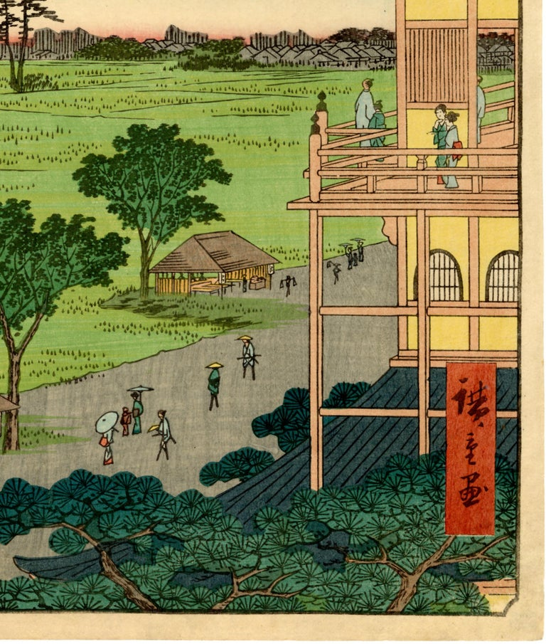 Visitors enjoy the splendid view over the bright green fields on the eastern fringe of Edo. They would have just finished the condensed, mini-journey offered by this unusual building, which replicates three separate 33-Kannon pilgrimages in a spiral