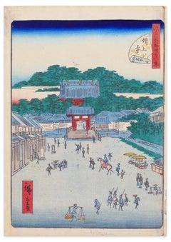 The Temple Zojo-ji - Original Woodcut by Hiroshige Utagawa - Early 19th Century