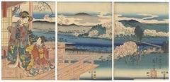 Toyokuni III, Hiroshige I, Original Japanese Woodblock Print, Genji, Cherry Tree