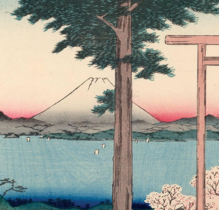 View of Mount Fuji with Cherry Blossoms - Print by Utagawa Hiroshige (Ando Hiroshige)