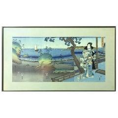 Ando Hiroshige & Tokoyuni Kunisada Prince Genji in Exile at Suma Oban Triptych