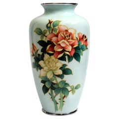 Ando Jubei Celadon Wireless Cloisonné Vase with Roses, Signed