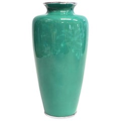 Ando Jubei Green Celadon Wireless Cloisonné Vase, Signed, Original Packaging
