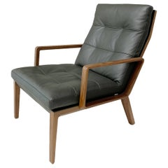 Andoo Lounge Chair in Black Leather and Walnut by EOOS and Walter K