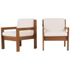 Andray Sornay Armchairs in Mahogany with Beige Fabric, 1950, Set of 2