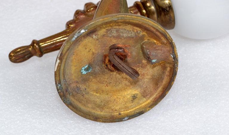 André Arbus Bronze Hand Sconces Opaline Glass Globes French Provincial, Pair For Sale 5
