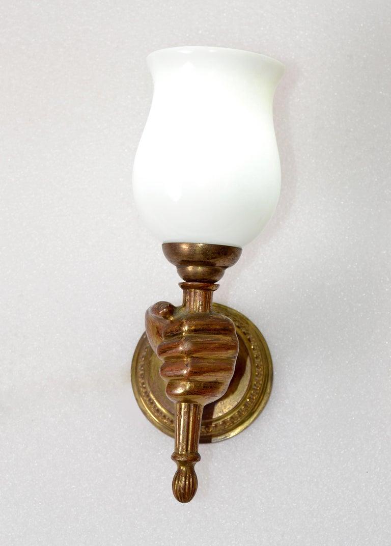 André Arbus Bronze Hand Sconces Opaline Glass Globes French Provincial, Pair For Sale 1