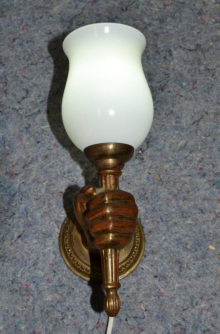 André Arbus Bronze Hand Sconces Opaline Glass Globes French Provincial, Pair For Sale 2
