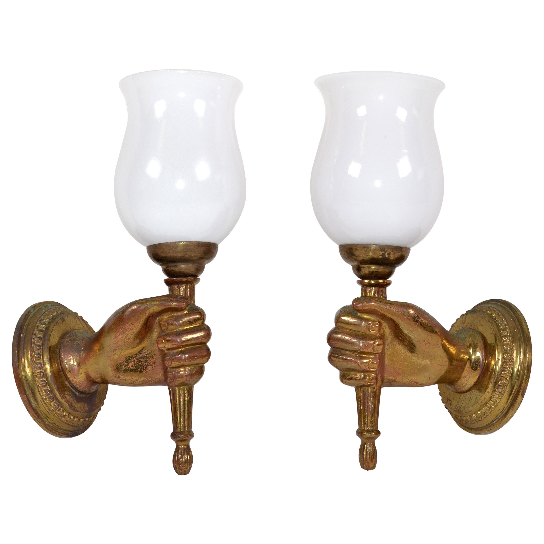 André Arbus Bronze Hand Sconces Opaline Glass Globes French Provincial, Pair