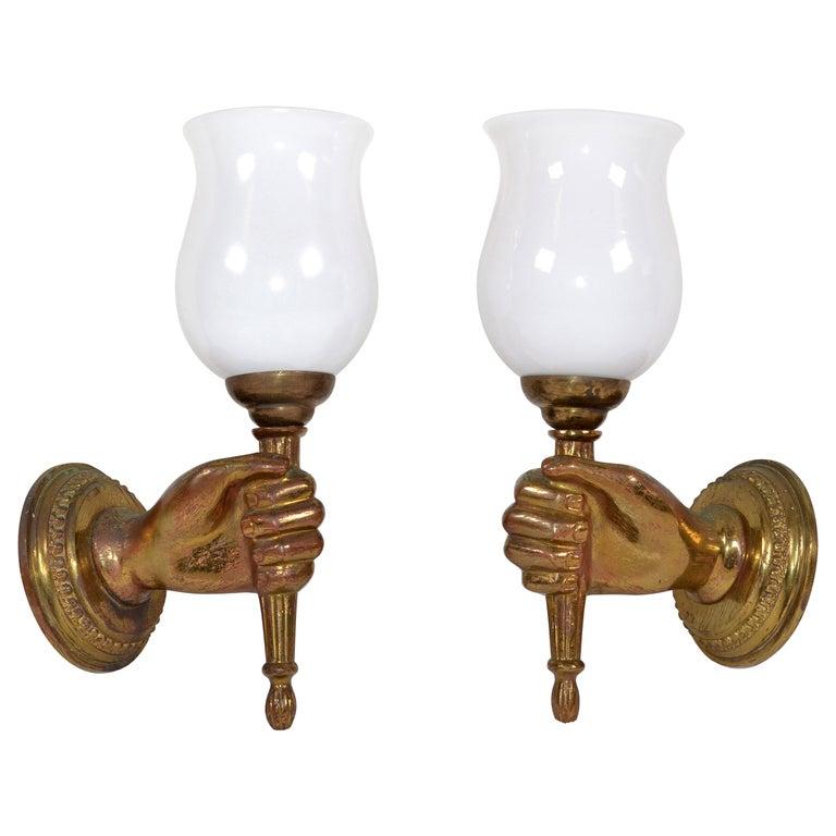 André Arbus Bronze Hand Sconces Opaline Glass Globes French Provincial, Pair For Sale