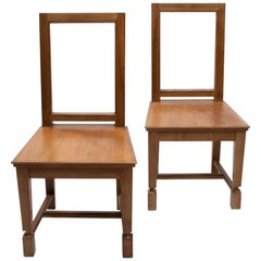 André Arbus, France, an Elegant Pair of Cherrywood Chairs