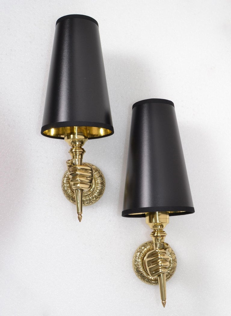 André Arbus French Bronze Hand Sconces, Wall Lights Black Gold Cone Shade, Pair For Sale 6