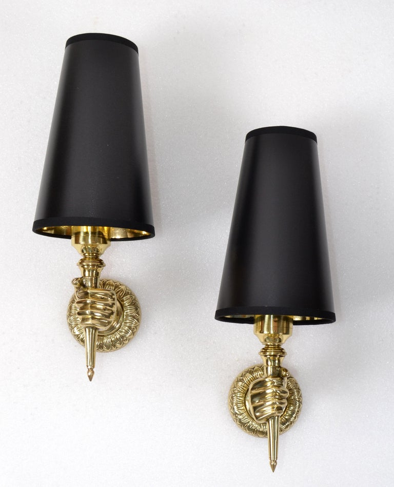 André Arbus French Bronze Hand Sconces, Wall Lights Black Gold Cone Shade, Pair For Sale 7