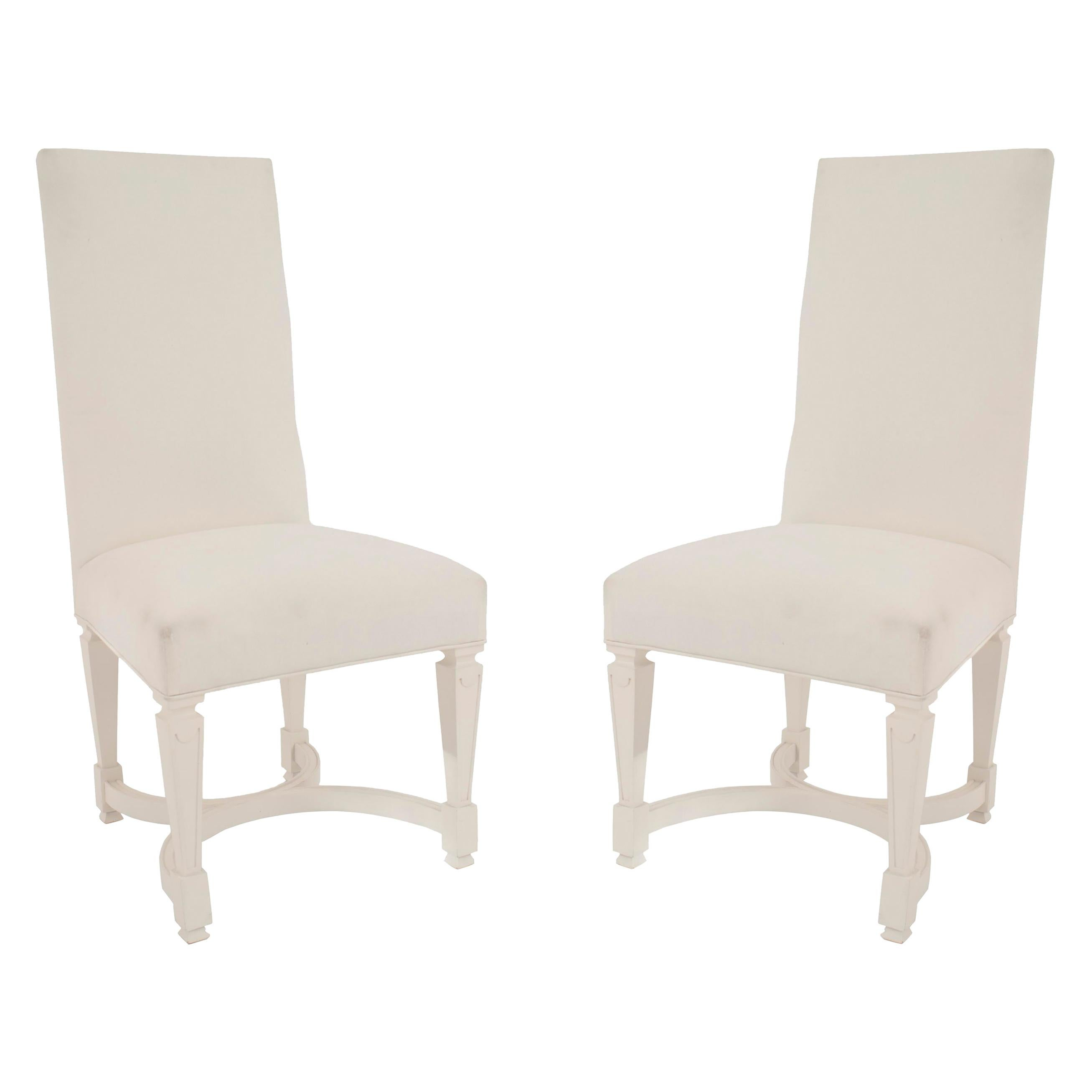 Andre Arbus French Midcentury Upholstered Side Chairs, Set of 4