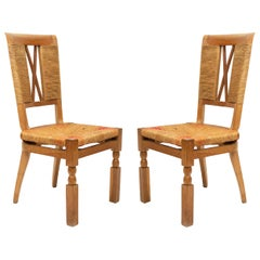 Andre Arbus French Midcentury Woven Back Chairs