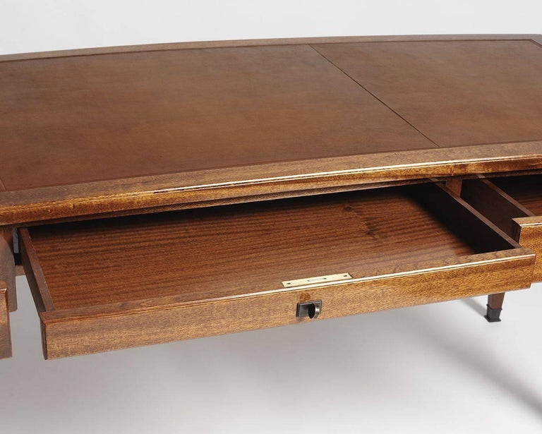 Art Deco André Arbus, Large Desk in Mahogany, Leather, and Bronze, France, circa 1940 For Sale
