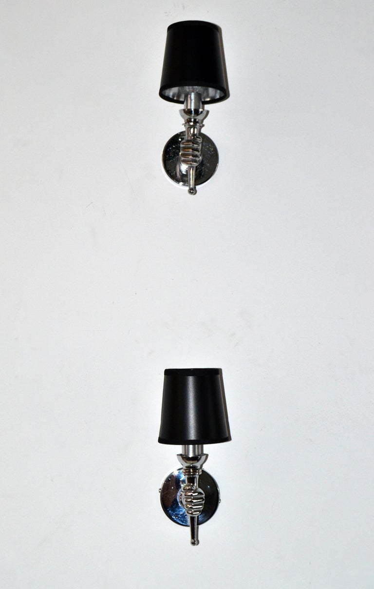 André Arbus Nickel-Plated Hand Sconces Wall Lights French Provincial, Two Pairs For Sale 2