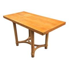 André Arbus, Rectangular Swivel Table with Ceruse Oak, circa 1950
