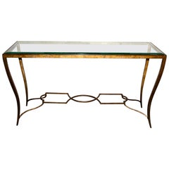 Andre Arbus Style Gilt Wrought Iron and Beveled Glass Console
