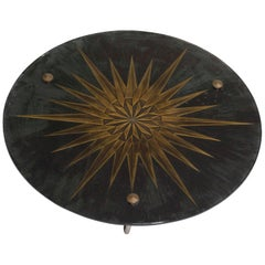 Andre Arbus Style Sun Glass Bronze Tripod Table Deco, Midcentury, France, 1950
