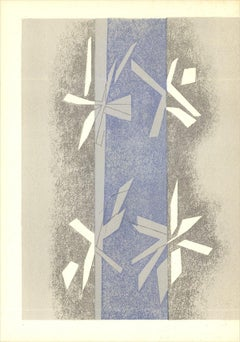 1964 Andre Beaudin 'Composition (Lg)' Modernism Blue,Gray France Lithograph